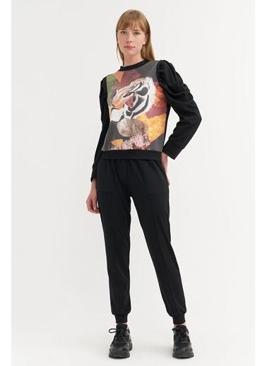 BGN Siyah - Baskılı Sweatshirt - Jogging Pantolon Takım Siyah